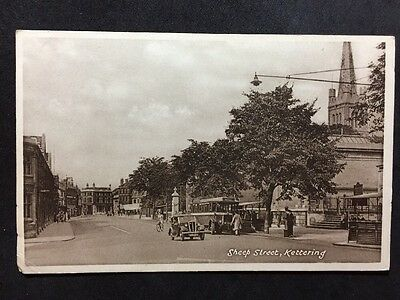 RP Vintage Postcard - Northamptonshire #C1 - Sheep Street, Kettering - Bus Car