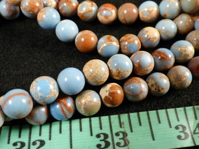(10) Indian Sky Blue Jasper Small Trade Beads 150+ Years Old