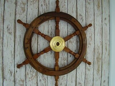 "24"" Wood / Brass Ship Wheel ~ Wooden Helm ~ Nautical Maritime Decor"