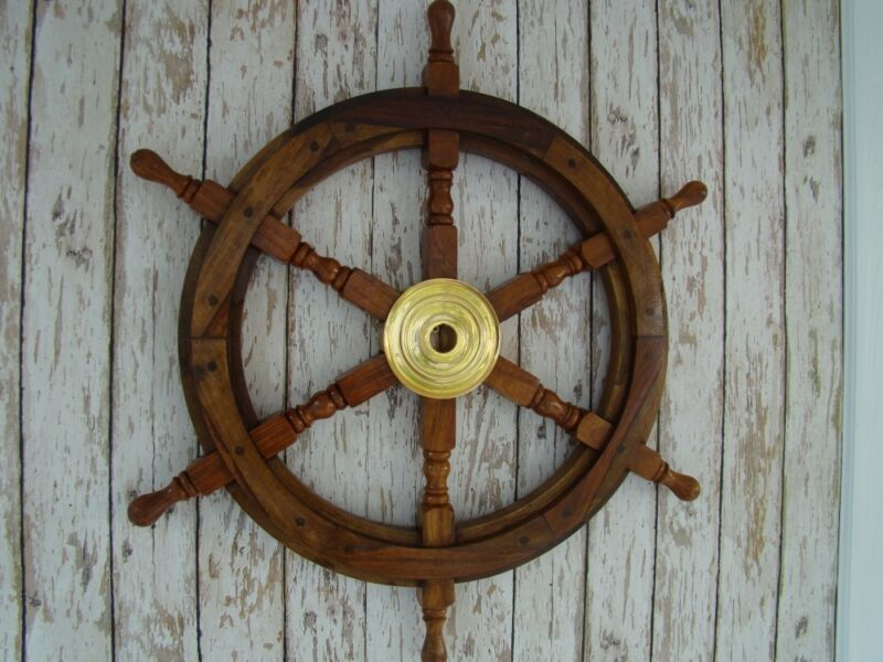 "24"" Wood / Brass Ship Wheel ~ Large Wooden Helm ~ Nautical Maritime Wall Decor"