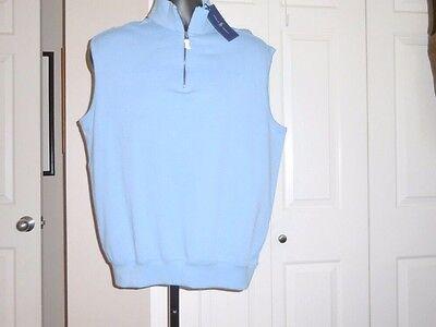 09c09b759 POLO GOLF RALPH LAUREN Men s NWT M 1 2 ZIP Light Blue Sweater Vest 100%  Cotton