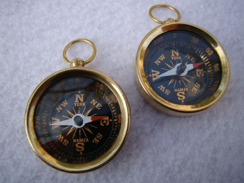 2 x Brass Compass - Small Mini Pocket Antique Style - Miniature Necklace Pendant