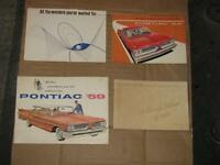 Pontiac dealer brochures 1959, 1962, 1963, 1964, 1966.