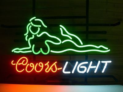 """New Coors Light Girl Live Nude Beer Neon Sign 17""""x14"""""""