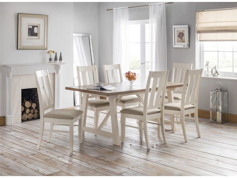 FAST FREE UK DELIVERY Modern Kitchen Dining Table Set With 6 Chairs In Ivory Welsh Oak Wood