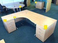 Beech effect wave shaped cantilever framed left hand workstation, 1800mm x 1200mm