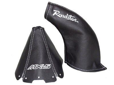 "Shift & E Brake Boot For Mazda MX5 MK1 Leather ""MX-5 Roadster"" White Logo"