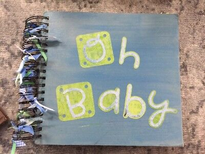 - 39 !! BABY BOY Book Pre-made Scrapbook Pages Months 1-12 Custom Made Homemade