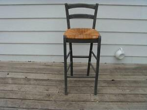 Pair of Wooden Bar Stools with Natural Cane Seat