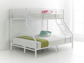 Same Day Delivery === Trio Sleeper Metal Bunk Bed with Light Quilted and ortho Mattress