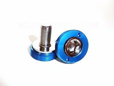 Bottom Bracket Crank Bolts with Anodized Caps - M8 Square Taper BLUE