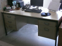 Classic dual pedistal executive office desk in light beech effect