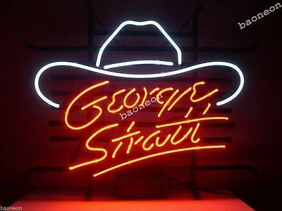New George Strait Cowboy Hat Logo Real Glass BEER BAR NEON LIGHT SIGN Free Ship - Neon Cowboy Hat