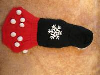 Dog Clothing - Red and Black Snowflake Dress with Hoodie