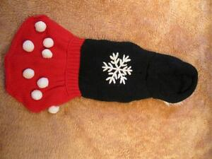 Dog Clothing - Red and Black Snowflake Dress with Hoodie Strathcona County Edmonton Area image 1