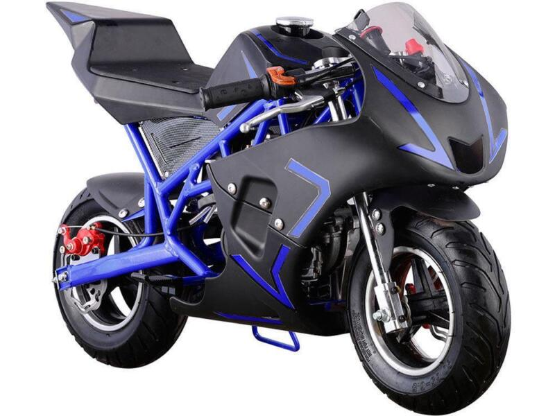 MotoTec Cali 40cc Gas Pocket Bike Blue 4-Stroke EPA Approved Chain Drive 13 & Up