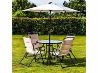 **FREE & FAST UK DELIVERY** Deluxe 6-Piece Outdoor Patio Furniture Set With Parasol