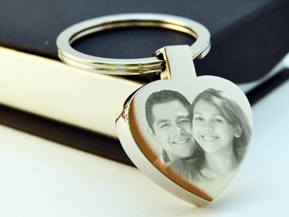 Portachiavi cuore Valentine's Day personalizzato inciso con Foto / testo
