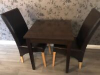 Table & 2 leather chairs