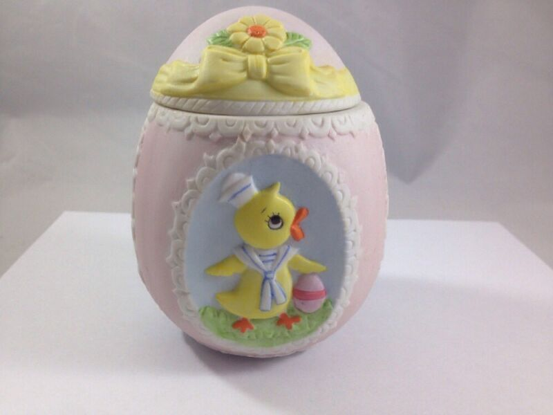 Hand Painted Porcelain Easter Egg Trinket Letton China Vintage 1985