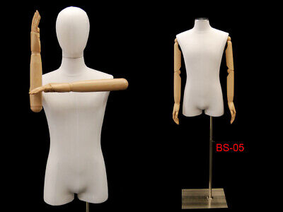 Adult Male White Linen 34 Torso Mannequin Form With Flexible Arms And Head