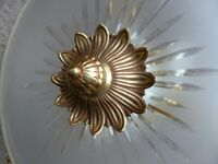 Large Frosted Glass and Brass Uplighter diam. 53 cm