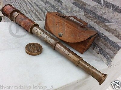Brass Telescope, Antique Spyglass Leather Engraving Scope Pirate Vintage Gift