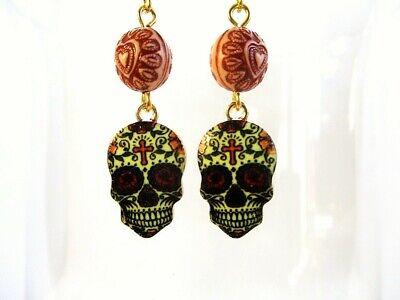 Halloween / Day of the Dead Sugar Skull Charm & Acrylic Bead Gold Tone Earrings](Sugar Skull Halloween Look)