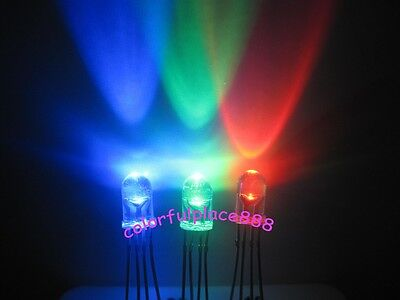 200pcs 5mm 4-Pin Tri-Color RGB Water Clear Common Anode Red Green Blue LED Leds