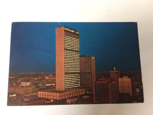 Southland Center Life Downtown Dallas At Night Texas TX Vintage Postcard