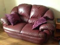 Lovely, wine coloured, leather sofa for FREE