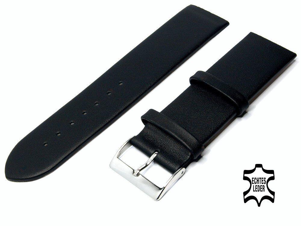 24 mm Uhrenarmband Schwarz Schraubmontage kompatibel Skagen, Boccia, Bering u.a.