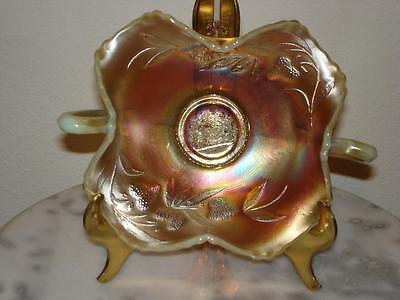 Fenton Strawberry Vaseline Opalescent Carnival Glass Double Handled Bon Bon rare