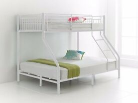 BRANDED #trio sleeper bunk bed in 3 colour black white or silver colors single top double bottom