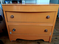 Orange chest of 2 drawers