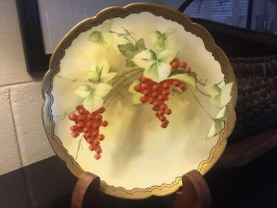 """PICKARD LIMOGES FRANCE HAND PAINTED CURRANTS 8 7/8"""" PLATE SIGNED BEITLER"""