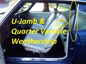 68-72 Chevelle GM A Body UJAMB QUARTER WINDOW WEAHERSTRIP KIT 4 Pieces NEW