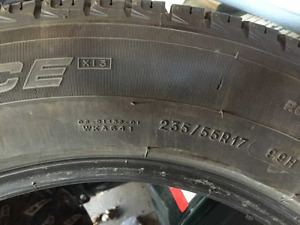 4 Michelin snow tires for $100.  Size 235/55R17