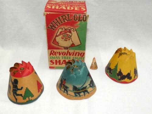 Vintage Christmas Whirl-Glo Revolving Tree Light Shades in Original Box 1936