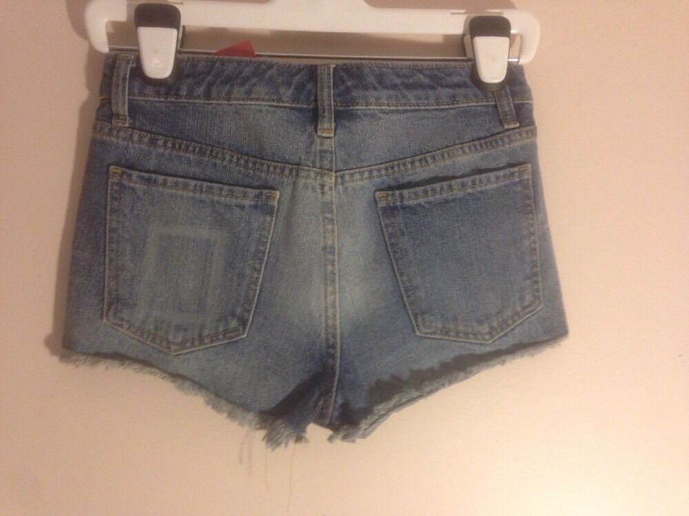 af2468ed8a Details about NWT JUNIORS MOSSIMO HIGH WAIST APOLLO BLUE DISTRESSED DENIM  SHORTS