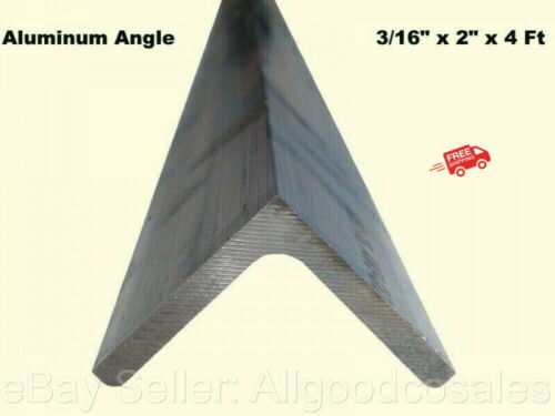"ALUMINUM ANGLE 3/16"" x 2"" x 4 Ft Length Unpolished Alloy 6061 90° Stock"