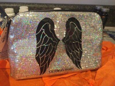 VICTORIAS SECRET GLITTER WIngs MAKEUP CLutch CASE BAG FASHION SHOW 2014 Rare New