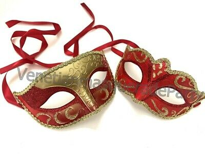Gold Red Masquerade Ball Mask Pair Set Christmas New Year Birthday Costume Party](Masquerade New Years Party)