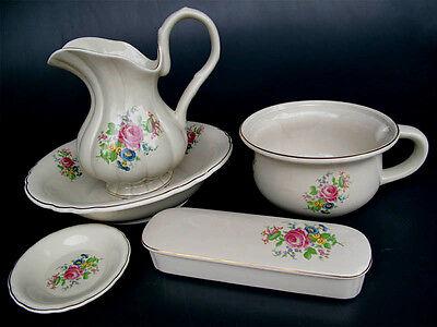 5-teiliges Waschset Lavabo Waschtischset aus Keramik mit Blumendekor u. Goldrand