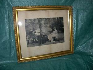 Antique Framed Prints with Antique Glass