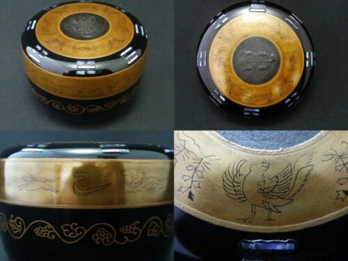 Japan Lacquer WOODEN Tea caddy Oriental Zodiac w/ Eight Trigrams Natsume  1119