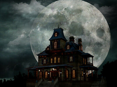 10x8FT Halloween Creepy Haunted House Vinyl Studio Backdrop Photo Background LB