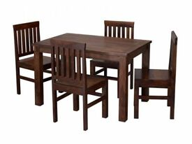 *FAST & FREE UK DELIVERY* LPD Solid Sheesham Wood Kitchen Dining Table Set with 4 Chairs