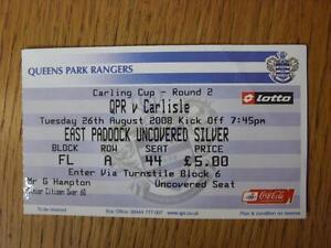 26-08-2008-Ticket-Queens-Park-Rangers-v-Carlisle-United-Football-League-Cup