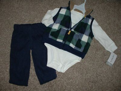 Carter's Baby Boy Navy Fleece 3pc Outfit Set Clothes Size 3M 3 Months 0-3 NWT for sale  Shipping to India